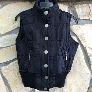 Maurices Puffy Zip Black Vest